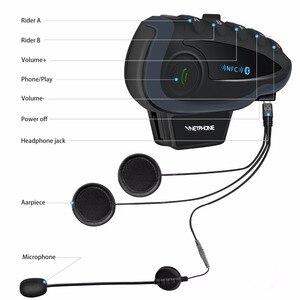 Image 2 - V8 BT Bluetooth del Casco Del Motociclo Citofono 1200M per 5 Piloti Interphone Auricolare A Distanza di Controllo FM radio