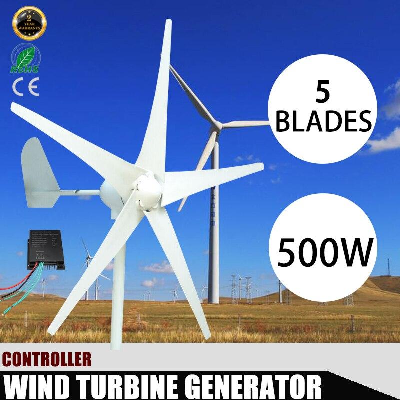 500 w 12 v 48 Volts 5 Nylon Fiber Lames Éoliennes Horizontales Puissance Du Générateur Moulin À Vent D'énergie avec DC Charge contrôleur Maison