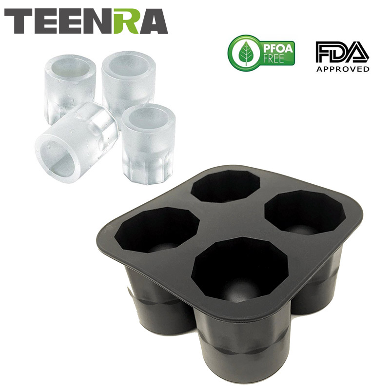 TEENRA 1Pcs 4 In 1 Ice Cup Tray Shot Glass Molds Silicone Ice Cup Mold Cube Tray Ice Mold Freeze Mold Maker Bar Party