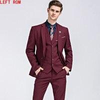 2017 известный бренд мужские Костюмы Свадебные Жених плюс Размеры m 5xl комплект из 3 предметов (куртка + жилет + штаны) slim Fit Повседневное смокинг