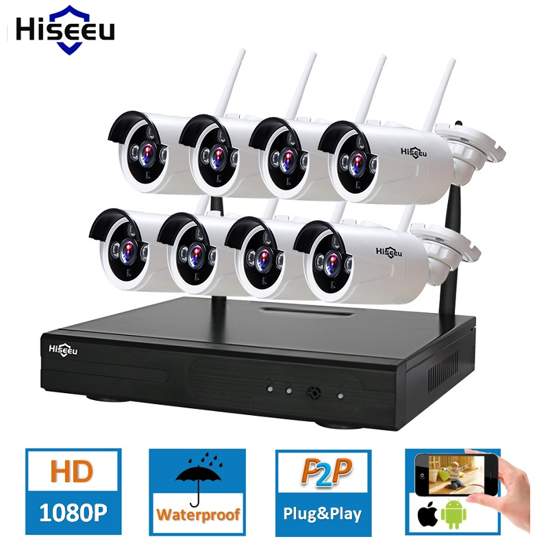 HD 2MP CCTV System 8ch 1080P Wireless NVR kit Outdoor IR Night Vision IP Wifi Camera Security System Surveillance Hiseeu hd 2mp cctv system 8ch 1080p wireless nvr kit outdoor ir night vision ip wifi camera security system surveillance hkixdiste