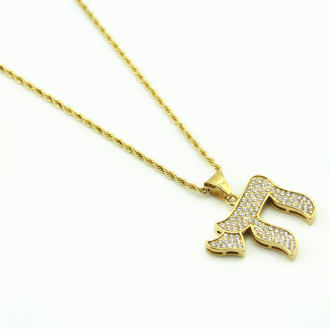 Gold Chai Jewish Symbol Pendants Necklaces Iced Out Bling Rhinestone