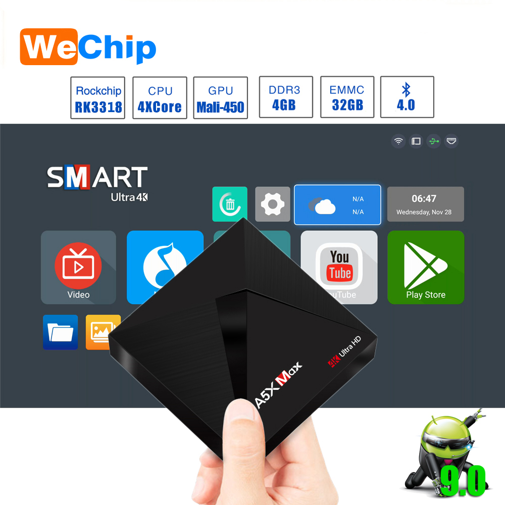 A5X MAX Smart Android 9.0 TV Box 4K HD TV Box RK3318 Quad-Core Media Player Support 2.4G WiFi Wireless 100M LAN Set-top Box