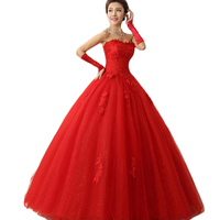 Vestido Novia 2016 Red Bride Dresses Strapless Lace Up XS XXL Luxury Wedding Dresses Lace Up Trouwjurk Long To The Floor CK56