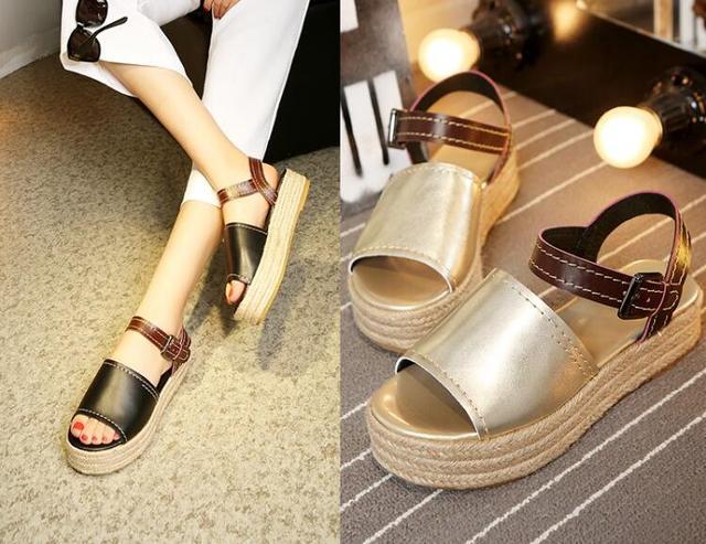 899f53c7457 New style flat platform sandals for women open toe gold black shoes jpg  640x493 Gold flat