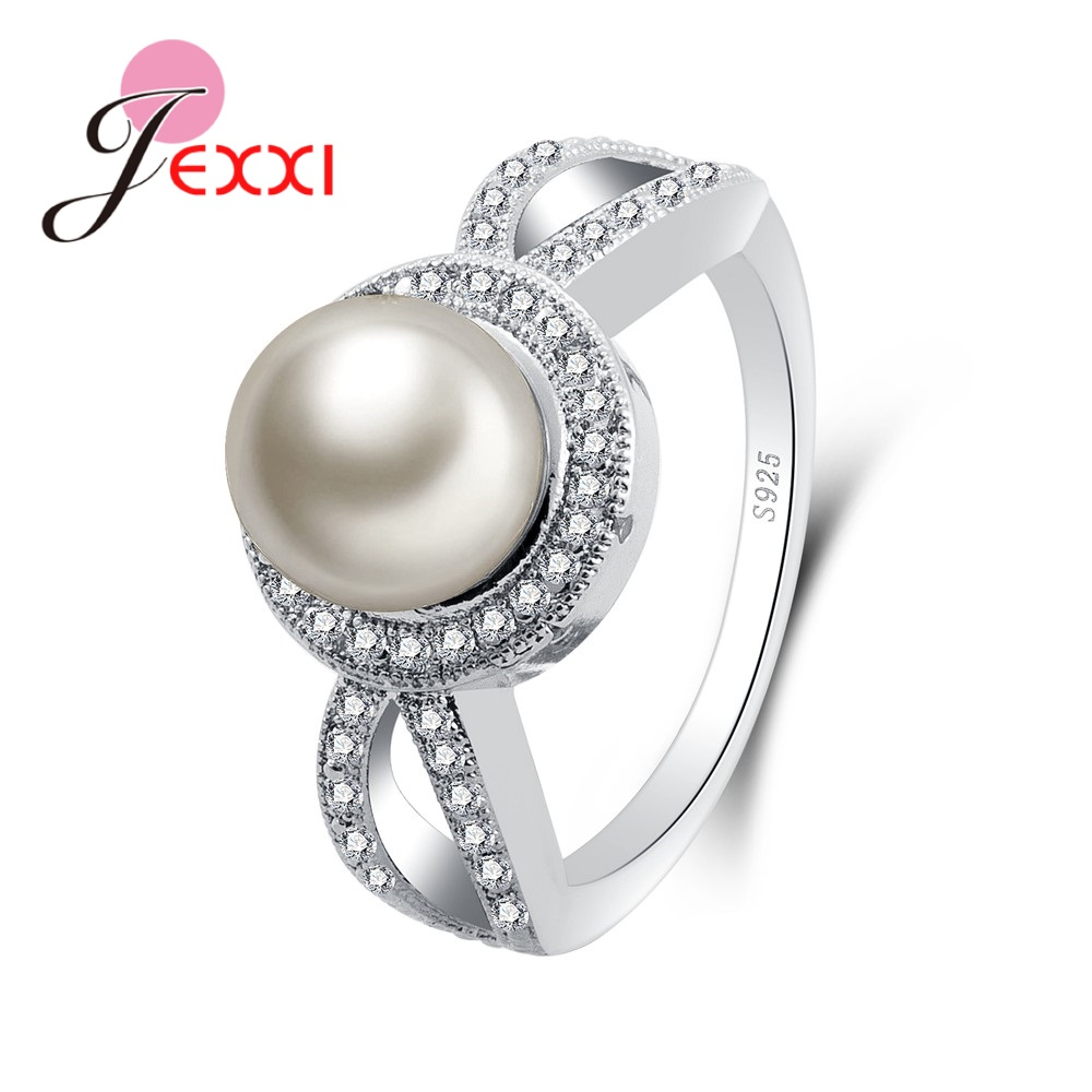 Latest White Round Pearl Good Small Rhinestone 925 Sterling Silver Wholesale Rings Beautiful Shinning Party Jewelry