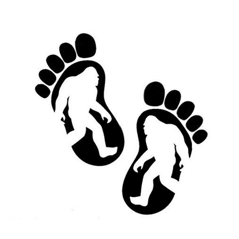 15*15CM BIGFOOT Footprints Car Sticker Decal Cartoon Foot Motorcycle Car Styling Black/Silver C2-0194 car