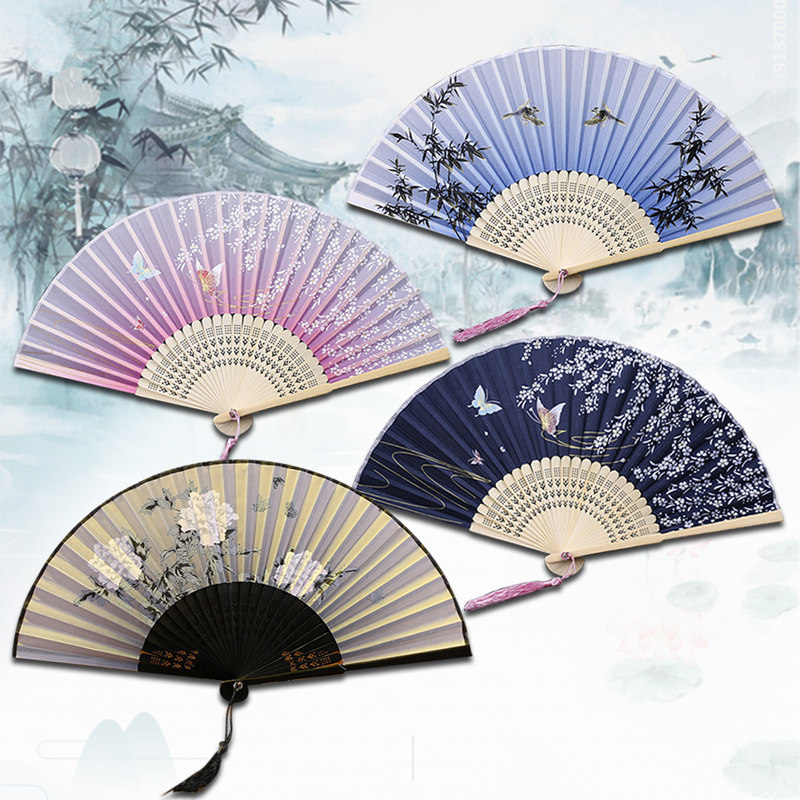 Chinese Japanese Folding Fan Wooden Shank Classical Dance Fan  High Quality Tassel  Elegent Female Fan