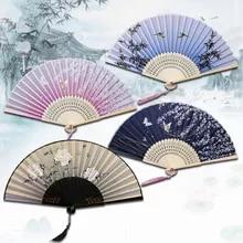 Folding Fan Dance-Fan Wooden Japanese High-Quality Elegent Tassel Shank Classical