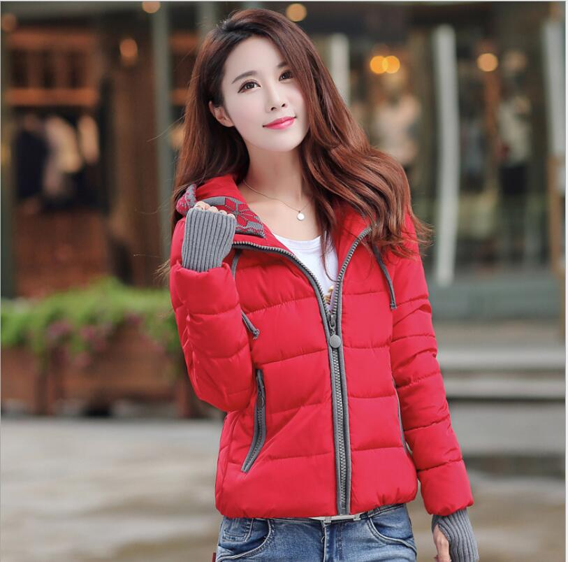 2016 New Fashion Women Winter Down jacket Big yards Thickening Super Warm Coats Hooded Jacket Splicing Slim Women Coat