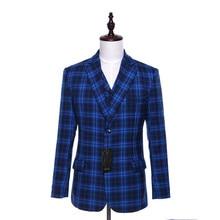 Blue Plaid Pattern Wool Slim Fit England Style Blazer