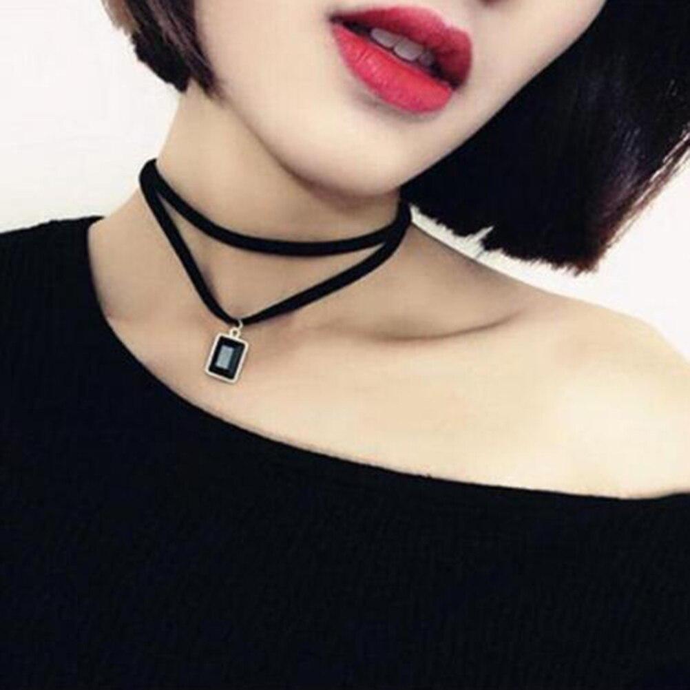 1 Pcs Punk Gothic Schwarz Retro Leder Halsband Kragen Kristall Anhänger Halskette äSthetisches Aussehen