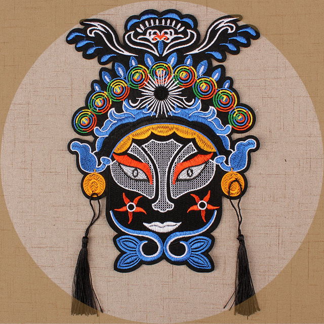 Beijing Opera Pattern Facial Clothing Patch Chinese Embroidery Patch  Embroidery Applique Parches Fashion Fabric dc860b922380
