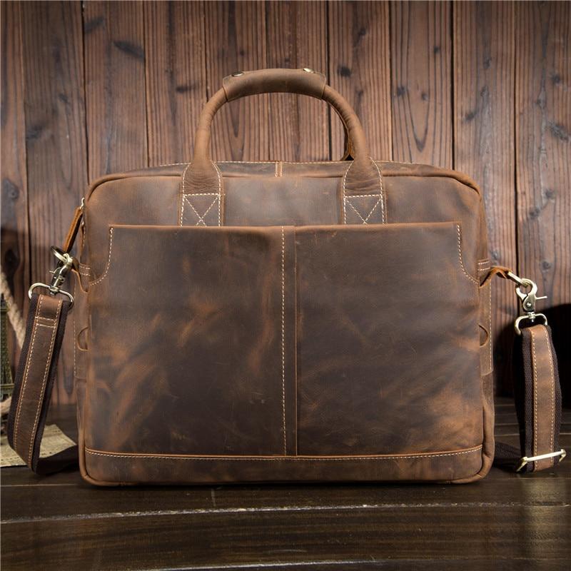 YISHEN Vintage Äkta Läder Män Handväskor Handväskor Företag Man - Portföljer