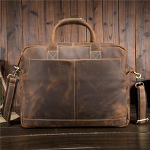 hot deal buy yishen vintage genuine leather men briefcase solid business male messenger bags laptop bags casual men's crossbody bags 1019