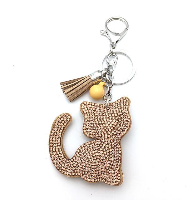 7 color new cat leather keychain pendant rhinestone
