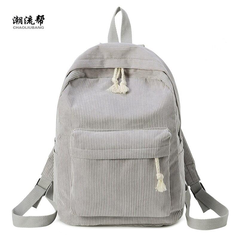 Brand Fashion Backpack Corduroy Woman Backpack School Schoolbag Mochila Female Simple Backpack For Teen Girl Children Mini Bag