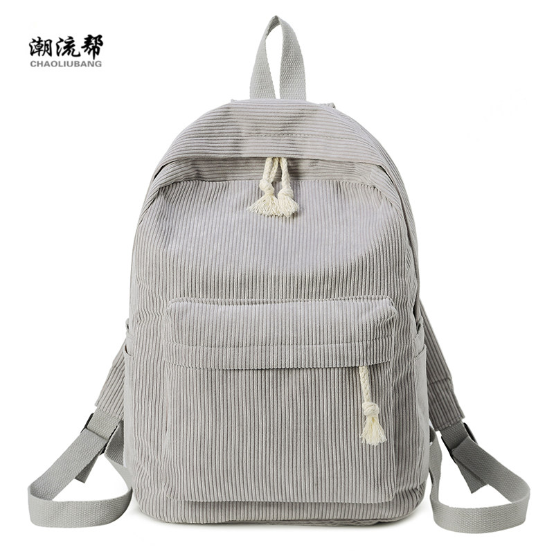 Brand Fashion Backpack Corduroy Woman Backpack School Schoolbag Mochila Female Simple Backpack For Teen Girl Children Mini Bag