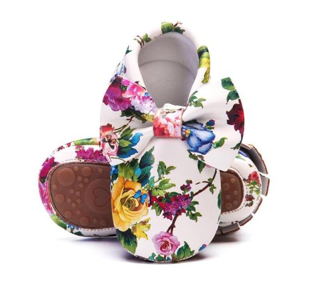 Baby Girls Boys Shoes First Walkers Bow PU Leather Fashion Breathable Anti-slip Newborn Shoes Baby Moccasins for 0-4 Years Baby