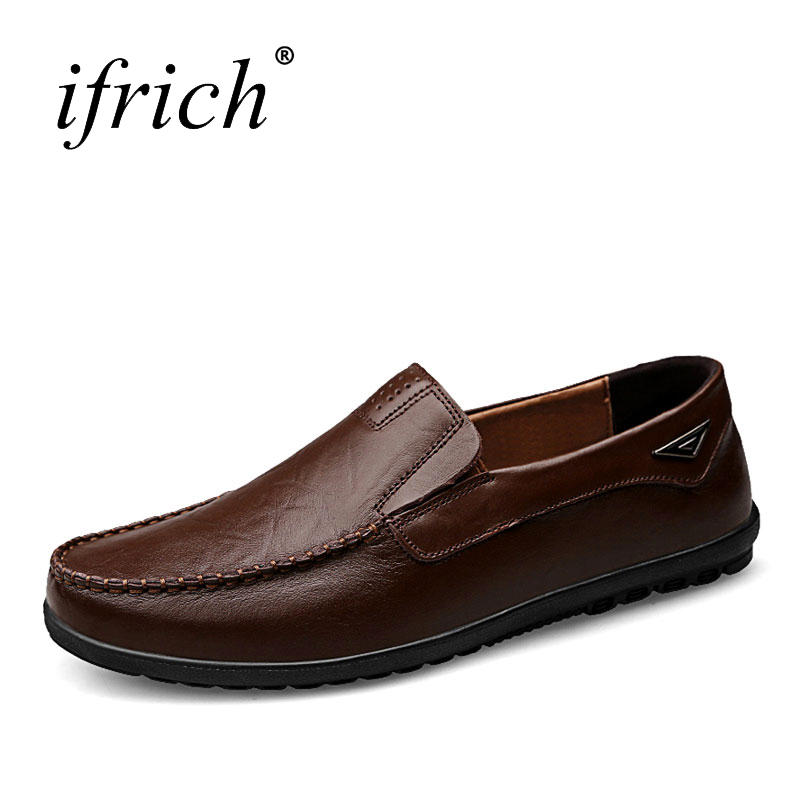 Ifrich Brand Mens Shoes Genuine Leather Casual Shoes Slip On Mens Driving Walking Footwear Black Brown Mens Loafers new 2017 mens white color genuine leather slip on flat casual shoes cool guys brand hip hop shoes size 38 44