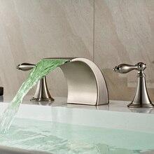 New Arrive Dual Handles Waterfall Brushed Nickel LED Bathtub Basin Mixer Faucet Luxury Widespread Bathtub Faucet