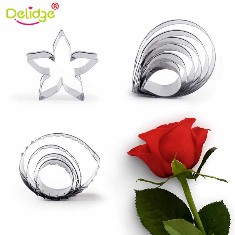 Delidge 11 pcs/set Rose Cutter Set Petals Leaves Calyx Cake Decorating Mold Stainless Steel Sugar Biscuit Fondant Baking Tool