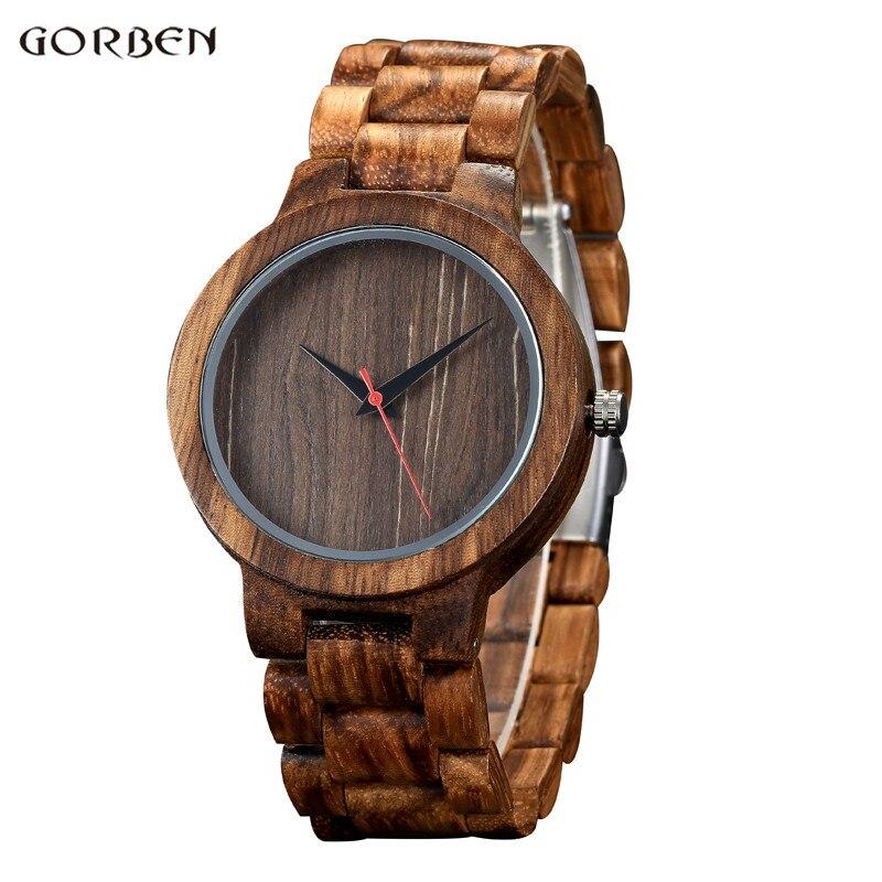 GORBEN Top Brand Bamboo Fashion Design Men Wood Watches Full Wood Quartz Watch Handmade Wristwatches Mens Clock Christmas Gifts  цена
