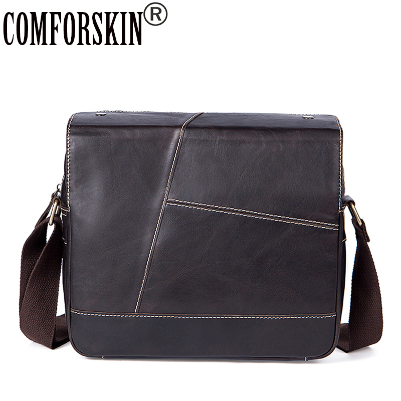 COMFORSKIN Guaranteed 100% Luxurious Genuine Leather Patchwork Men Cross-body Bags 2018 Hot Vintage Casual Men Messenger Bags цена