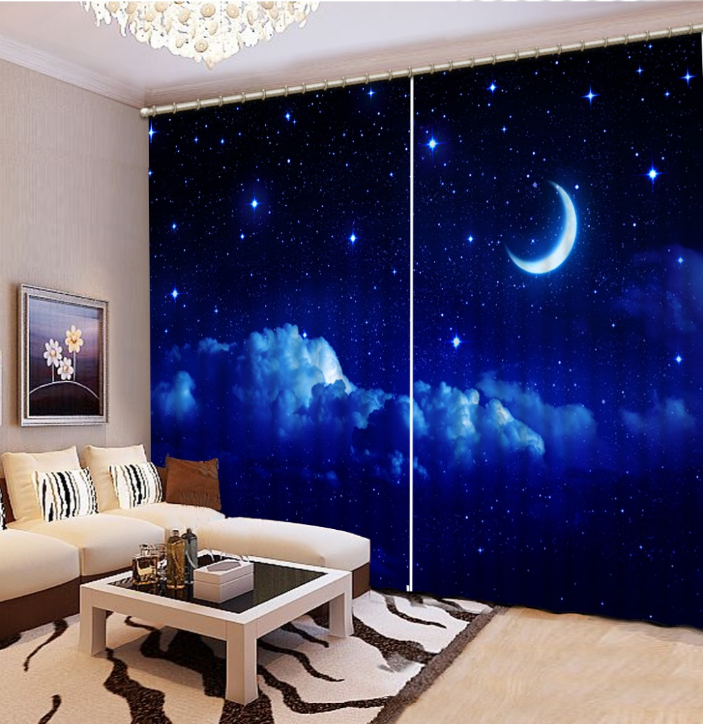 Customize Buyer Size Fashion 3D Home Decor Beautiful Dark Blue Sky Curtains For Living Room Home