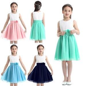 Image 2 - Robes à fleurs, robes Tutu, en mousseline de soie, sans manches, robes de concours pour filles, fête de première Communion, été, 2020