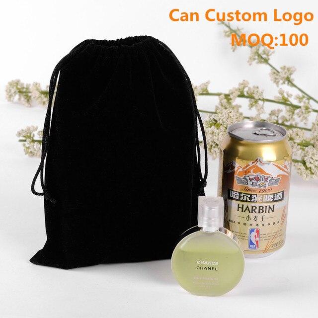 Wholesale 50pcs/Lot 15x20cm Large Packaging Bag Black Velvet Bag For Jewelry Can Custom Logo Printed Drawstring Velvet Pouches