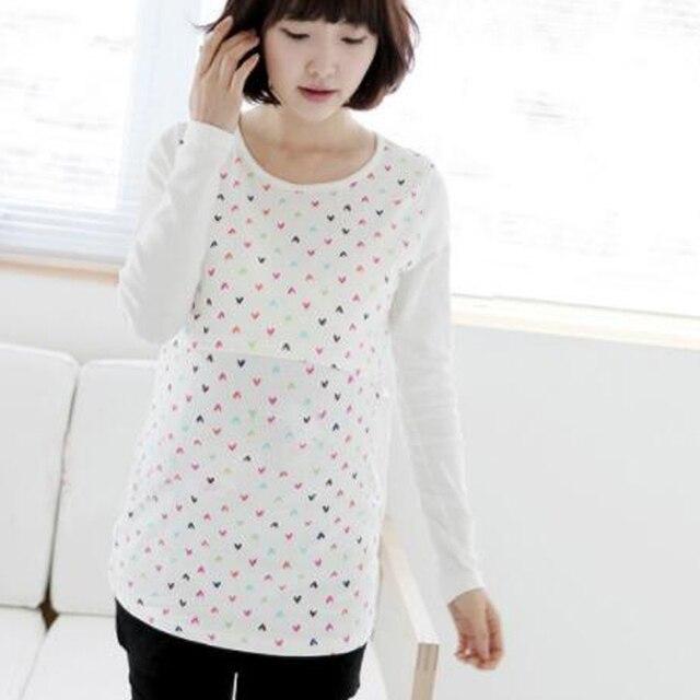 c6e196102db3f Long Sleeve Feeding T-Shirt Cotton Heart Nursing Top Maternity Tees  Breastfeeding Clothes Pregnancy Clothing