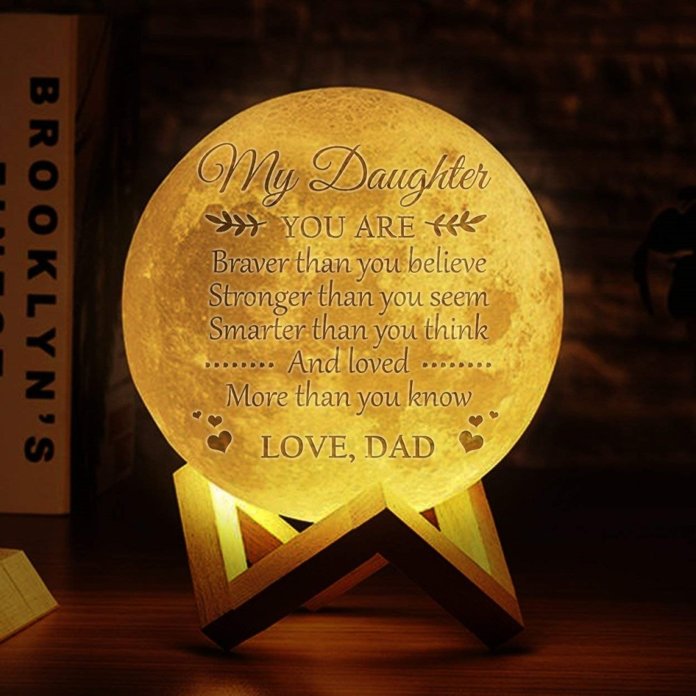 Image 4 - Photo/Text Custom 3D Printing Moon Lamp Nightlight Customized Personality Lunar USB Charging Night Lamp with Wooden Holder-in LED Night Lights from Lights & Lighting