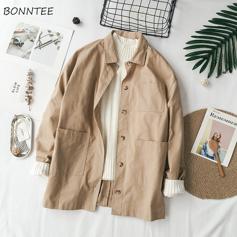 Trench Women Korean Style Leisure Solid Simple Fashion Single Breasted Retro Womens Long Sleeve Students All-match Loose Daily