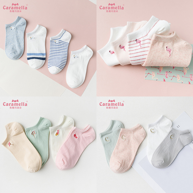 2018 New 4 Pairs Cotton Women/men Spring Summer Lovely Animals Painting Lovely Flamingo Boat Socks Cute Tide Casual Funny