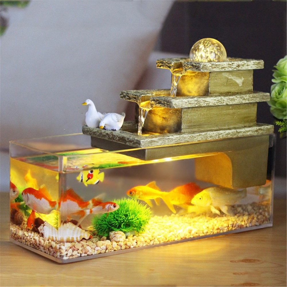 Indoor Home Decoration Water Feature Rectangle Rolling Ball Fountain Waterfall Cascade  Aquarium Christmas Gift Idea Fish Tank