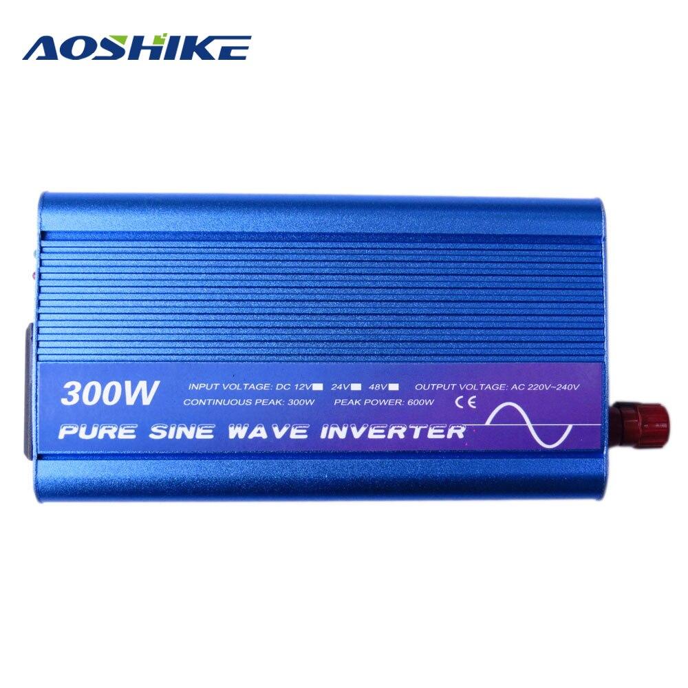 Aoshike Pure Sine Wave Car Inverter 300W DC 12 V 24 V To AC 220V 50 HZ Working With Solar Battery Panel Voltage Transformer USB zhk displej displej belyj i chernyj ampermetr diapazon ac 0 50 0a panel monitory goluboj podsvetkoj 80 300 v inpute
