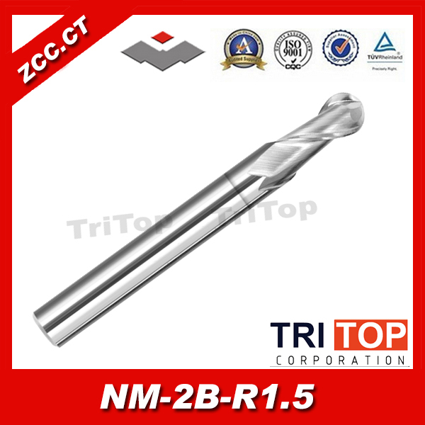 ZCC.CT NM-2B-R1.5 Solid Carbide 2 flute ball nose end mills with straight shank  milling cutter  цены
