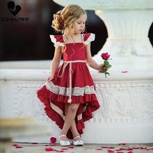 Chivry 2019 Little Girls Lace Irregular Hem Fly Sleeve Dress Kids Baby Gilrs Elegant Wedding Birthday Party Dresses Vestidos