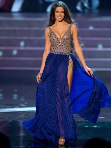 Una Línea de Cuello En V Profundo Azul Marino Con Cuentas Lentejuelas Pageant Vestidos de la celebridad de Miss Universo miss EE.UU. Olivia Culpo Ocasión Especial desgaste
