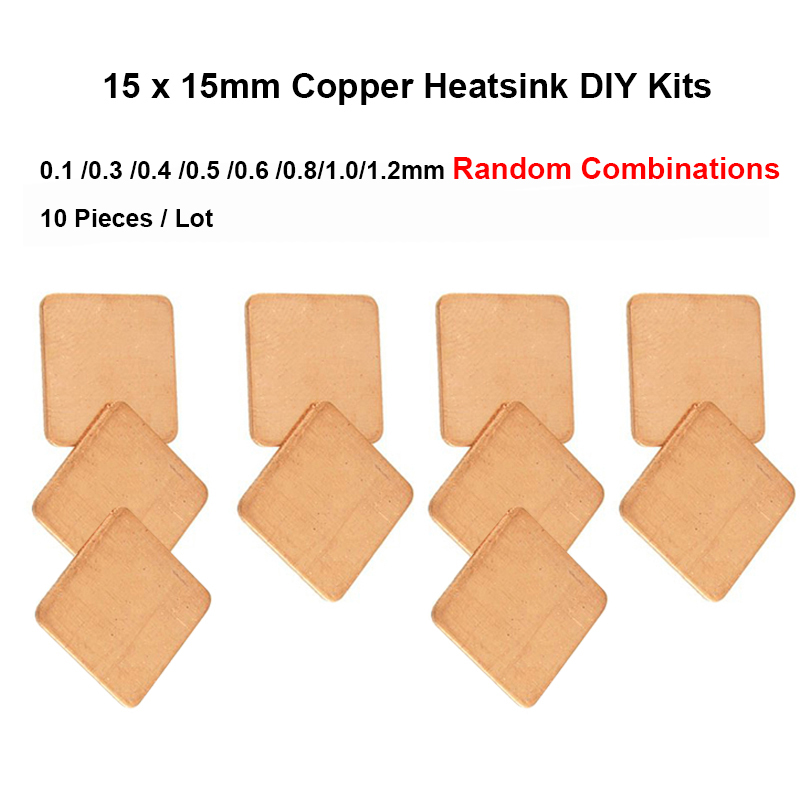 10pcs 15x15x0.1/0.3/0.4/<font><b>0.5</b></font>/0.6/0.8/1.0/1.2mm Random Combinations DIY Copper Heatsink thermal Pad,Laptop CPU <font><b>VGA</b></font> Chip RAM Cooler image