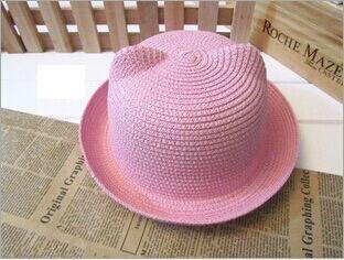 [DINGDNSHOW], модная соломенная шляпа, Летний стиль, для взрослых, украшение в виде ушей, прекрасная соломенная шляпа от солнца, одноцветная широкополая Панама для женщин - Цвет: light pink adult