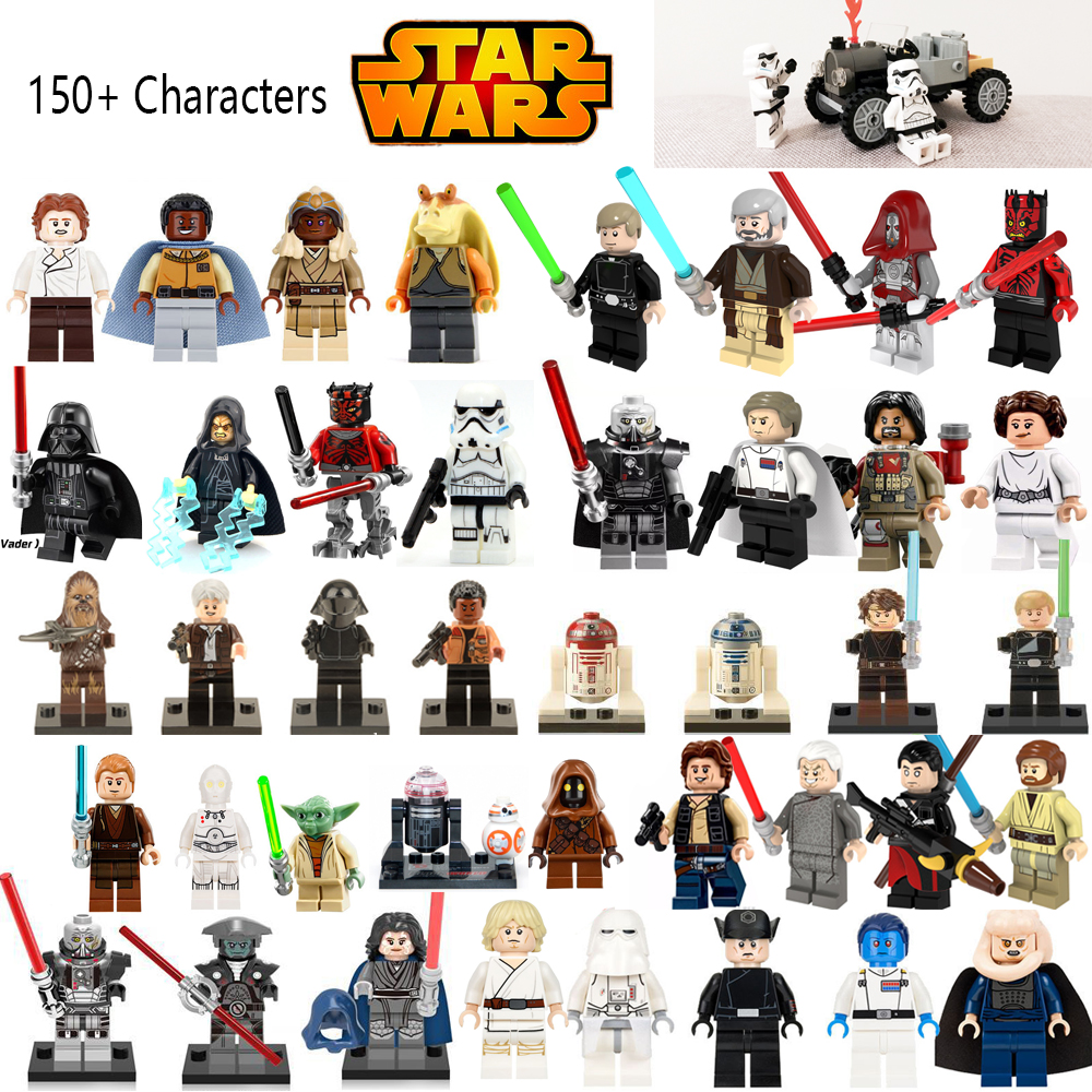 Hot Sale Star Wars Luke Leia Han Solo Anakin Darth Vader lepin Yoda Jar Jar Binks DIY Dolls Building Blocks Toys For children hot sale 12cm foreign chavo genuine peluche plush toys character mini humanoid dolls