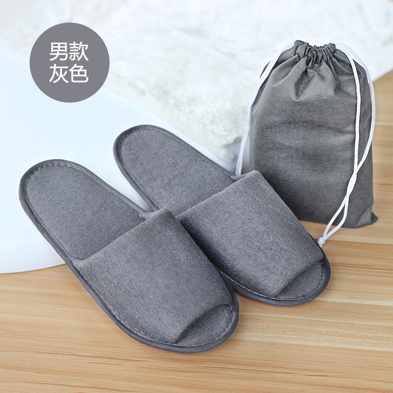 Men Travel Business Trip Hotel Club Portable Not Disposable Folding Slippers Boys Home Guest Slippers With Bag