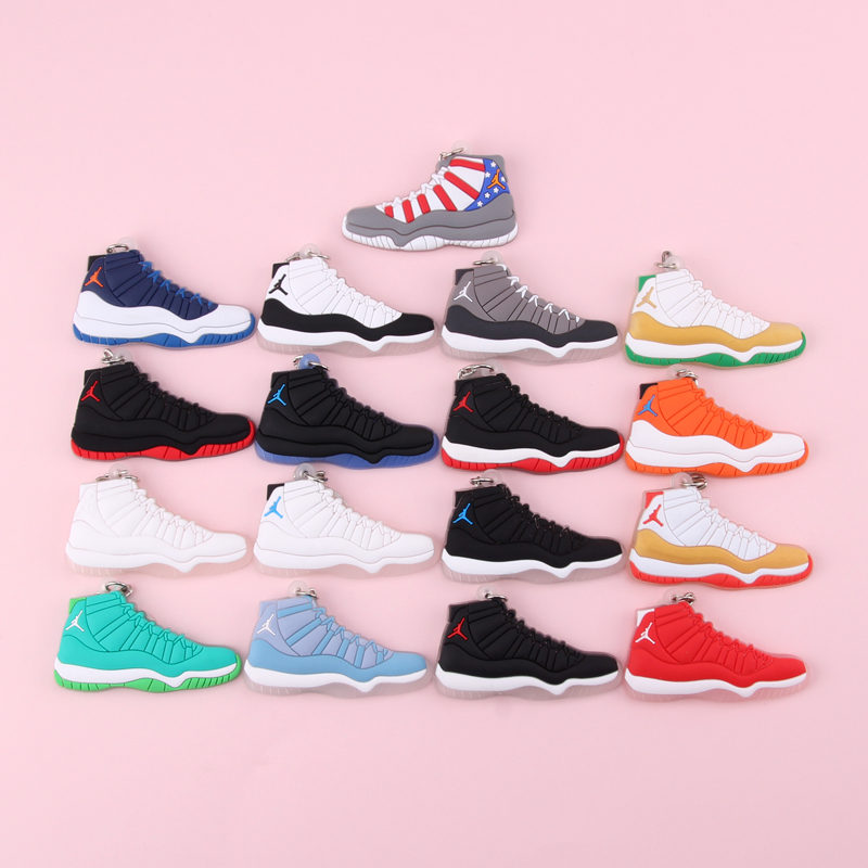 Keychain New Exotic Mini Jordan 11 Retro Shoe Key Chain Men And Women Kids Gift Keyring Basketball Sneaker Key Holder Porte Clef