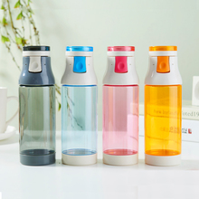 Free shipping water bottle with filter bpa free push button plastic material direct drinking and ring handle