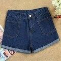 Shorts vaqueros de cintura alta de la nueva moda 2014 primavera y verano Sexy Hot Pants mujer-05 pantalones vaqueros de la ropa mujeres Ladies Short