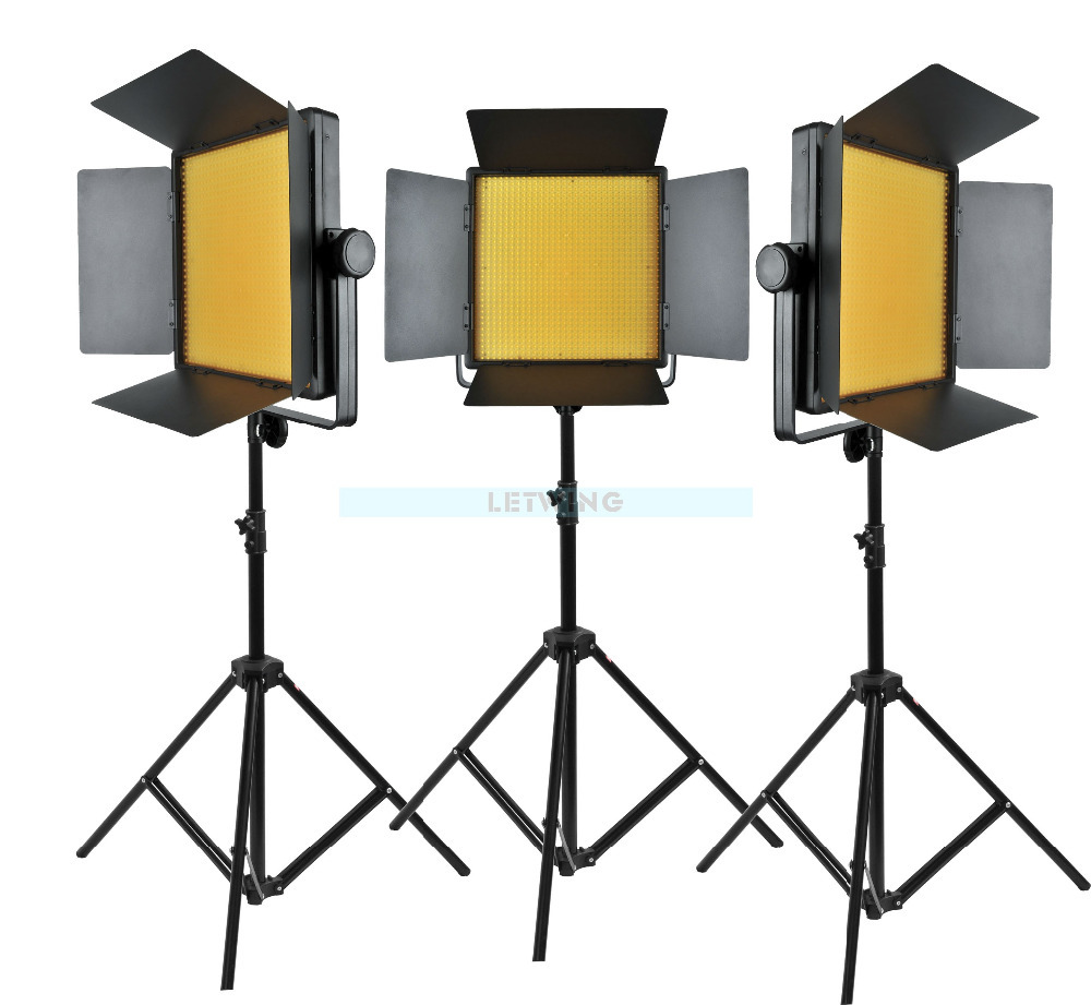 Yellow Version Godox 3000 3X 1000 LED Photo Studio Video Continuous Light Kit For Camera Camcorder DV 3300k Free Shipping godox led 308y 308 leds professional led video 3300k light with remote control for canon nikon camera dv camcorder