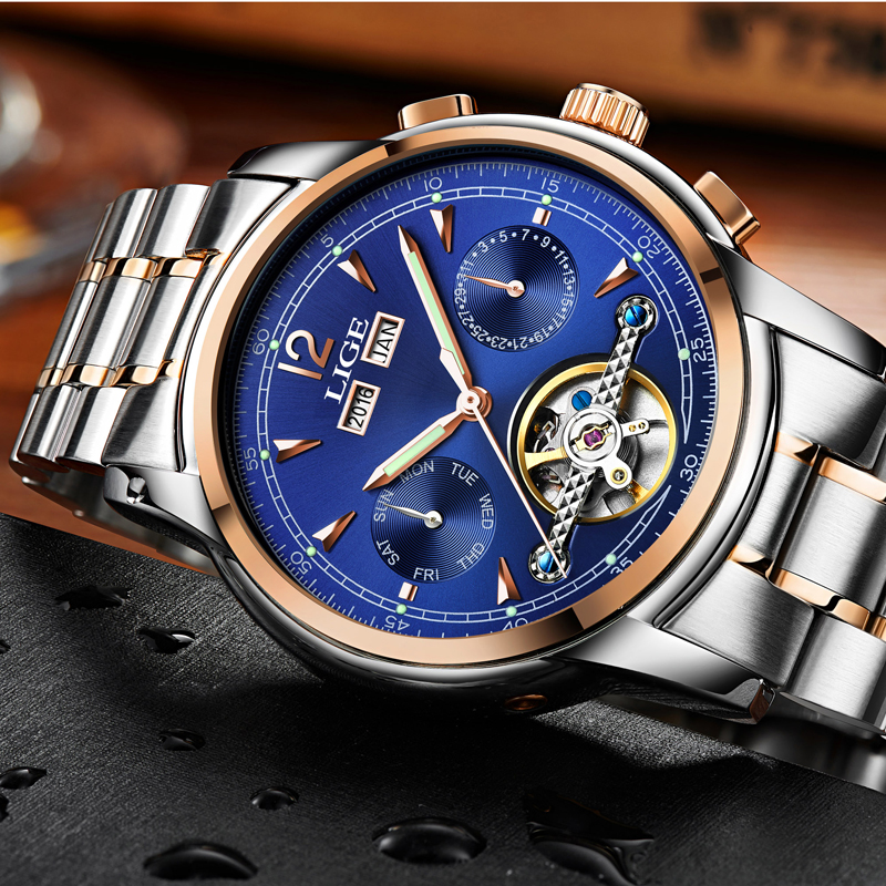 Relojes LIGE Male Automatic mechanical Sport Watch Men Luxury Brand Casual Watches Men's Wristwatch army Clock relogio masculino-in Mechanical Watches from Watches    2
