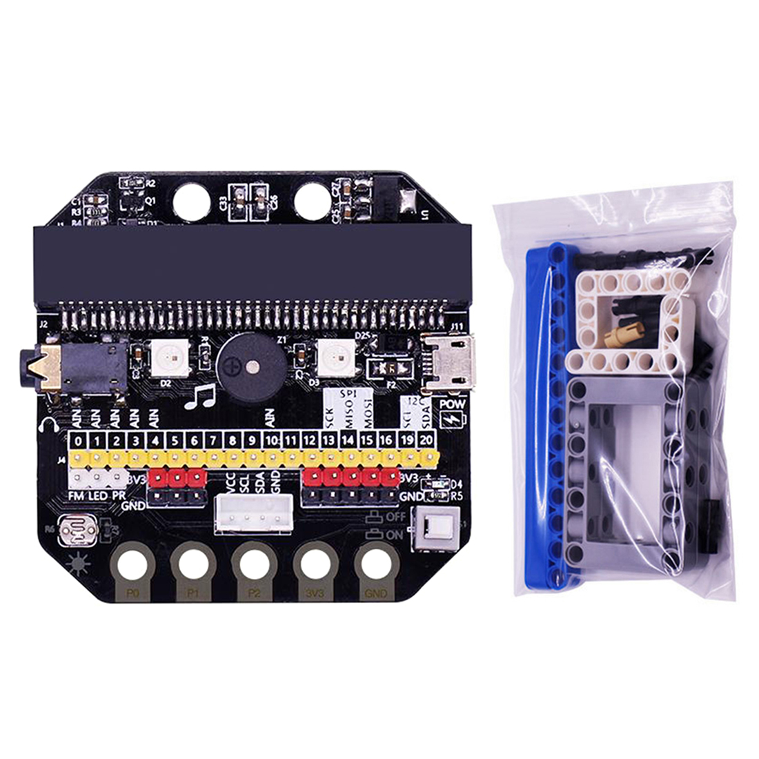 Basic:Bit IO Expansion Board Horizontal Type Pinboard Microbit Python Development Board With Building Block Expansion Pack Micro
